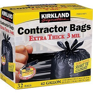 Kirkland Signature 42-Gallon Heavy Duty Contractor Clean Up Bags - 32 Count