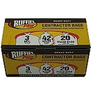 Ruffies Pro Contractor Bags, Clear, 42 gallon, 20 ct