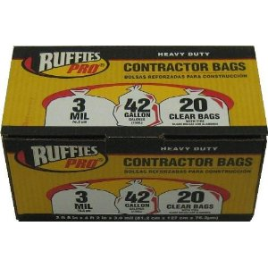 Clear Contractor Bags, Ruffies Pro, 3 mil, 42 Gallon (20 ct)