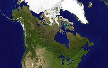 Forests prevail on the rocky Canadian Shield. Ice and tundra are prominent in the Arctic. Glaciers are visible in the Canadian Rockies and Coast Mountains. The interior is mostly flat prairies. The Great Lakes feed the Saint Lawrence River in the southeast lowlands