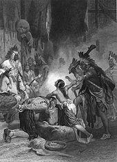 A black and white drawing of a young dark-haired Native American woman shielding a Elizabethan era man from execution by a Native American chief. She is bare-chested, and her face is bathed in light from an unknown source. Several Native Americans look on at the scene.